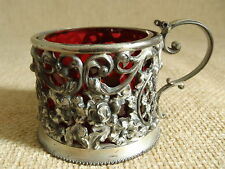 Antique Pairpoint Manufacturing Co.Silver-plated Cruet w/Cranberry glass insert