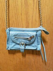 Junior-Drake-womens-blue-leather-purse-handbag-shoulder-bag-silver-chain-small