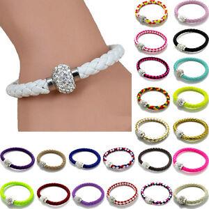 Unisex-Magnetic-Bracelet-Leather-Buckle-Bangle-Wristband-Rhinestone-Fashion
