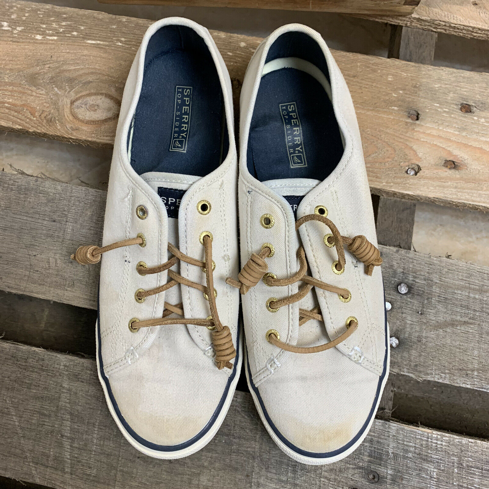 Sperry Top Sider Woman's Shoes Casual Canvas Boat Loafers Beige Sz 9.5 M