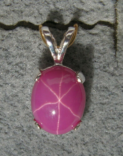 LINDE LINDY 8x6MM 1.5+CT PINK STAR RUBY CREATED SAPPHIRE 925 S//S PENDANT 2ND