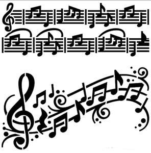 Notas musicales de Mylar plantilla Artesanía Decoración de Hogar Pintura Pared Arte 125//190 micras