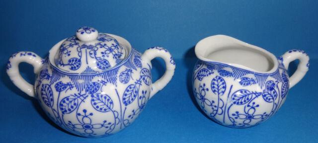 Milch Zucker Set China Porzellan blau weiß dünn Milchkännchen & Zuckerdose