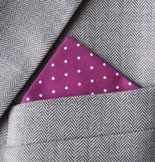 SUPERNOVA Light Maroon Polka Dot Pocket Handkerchief Square Mod Wedding Suit