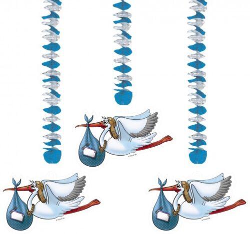 Rotor Spirale Geburt Junge Storch Deko Feier 3 tlg