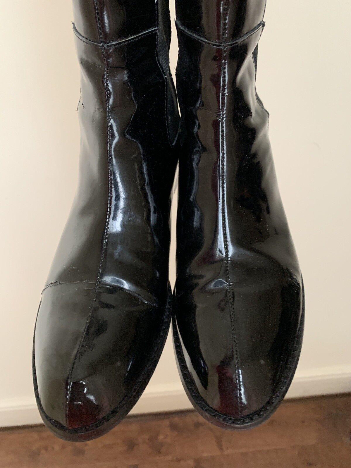 rojoucción de Ralph Lauren Zapatos Talla botas De Cuero Patente Talla Zapatos 38.5 EUR 7.5 EE. UU. 561443