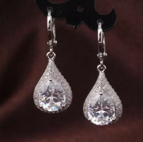 18k WhiteGold Plated Silver Blue Sapphire Black Crystal PearDrop Dangle Earrings