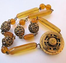 1900s Edwardian Bohemian Czech Amber Glass Choker Necklace Antique Jewelry