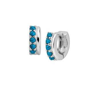 Silpada-039-Soleil-039-Compressed-Turquoise-Stud-Huggie-Hoop-Earrings-Sterling-Silver