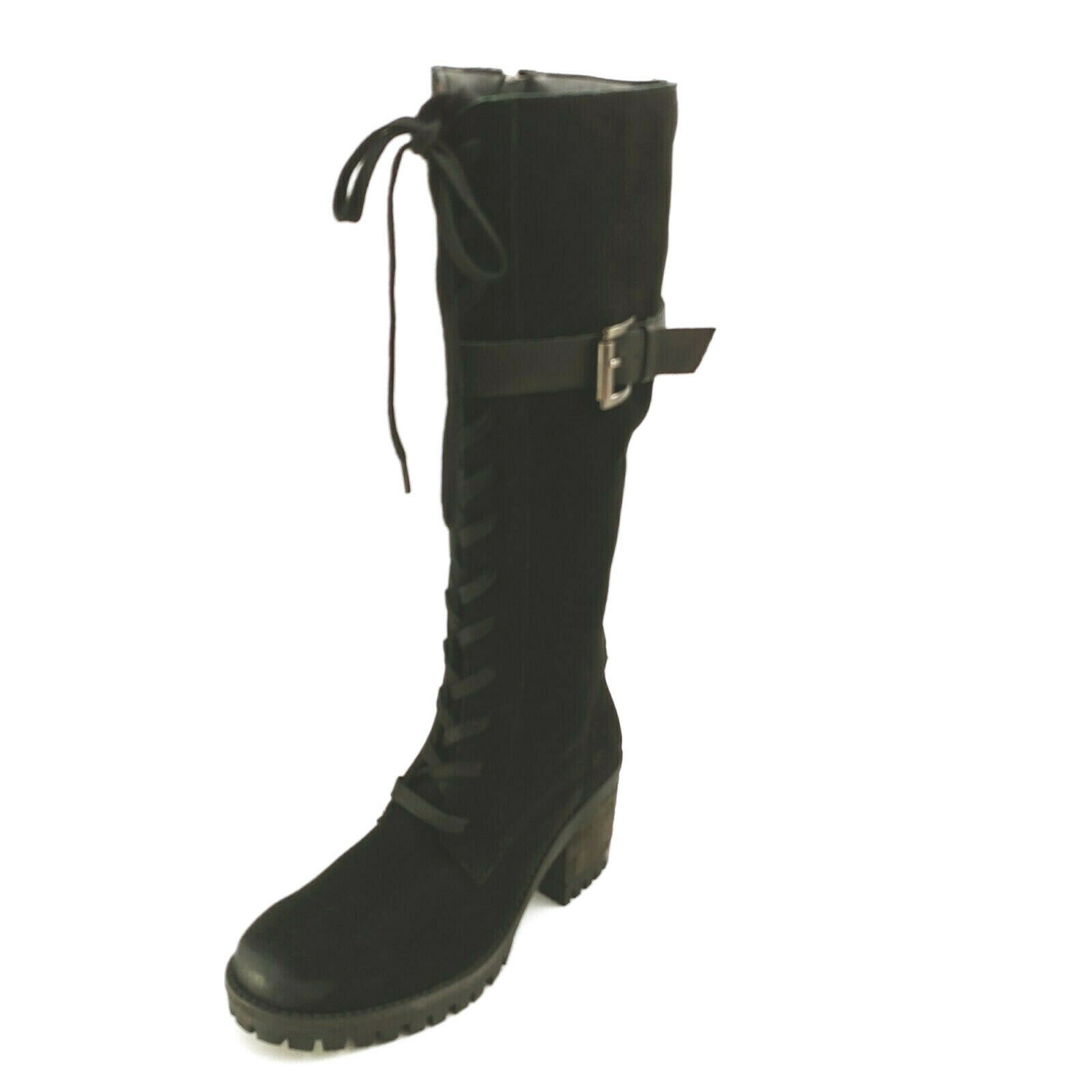 Vintage Foundry Co. Womens Naomi Leather Knee High Boots Lace Up Black 6.5M
