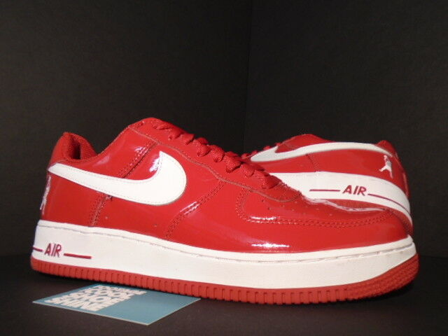 2004 Nike Air Force 1 SHEED LOW RASHEED WALLACE PATENT rouge blanc 306347-611 11