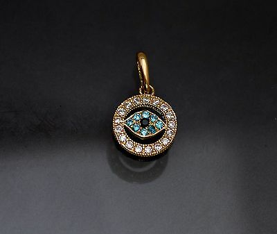Diamond turquoise evil eye charm pendant necklace 14k yellow gold ebay 14k solid yellow gold evil eye lab diamond charm pendant necklace 050tcw aloadofball Images