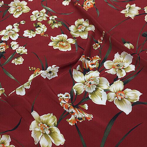 Elegant flower print pure silk Crepe DE chine silk fabric 135cm width,SCDC950