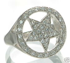 Solid 925 Sterling Silver Pave CZ Pentagram Star Large Ring Size-8 '
