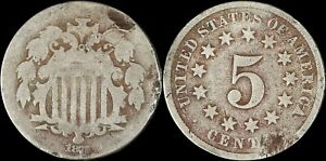 1872 Shield Nickel US Five Cents Type Coin Longacre Philadelphia Mint Old US