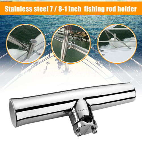 "316L Stainless Steel Fishing Rod Holder Boat Tackle Clamp On Rail Mount 7//8/"" 1/"""