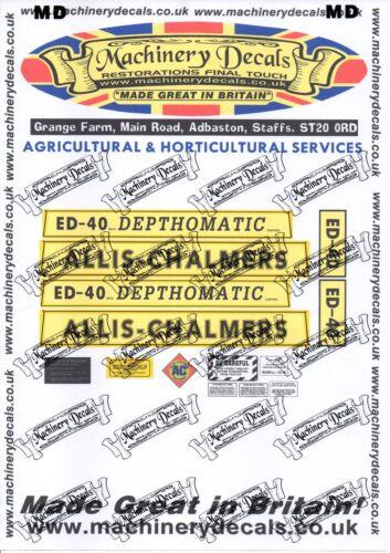 ALLIS CHALMERS ED40  DEPTHOMATIC DECALS SET