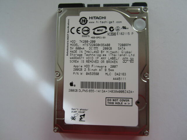 "NEW SEALED Hitachi 200GB 2.5"" SATA Hard Drive HTS722020K9SA00 0A53590 7K200-200"