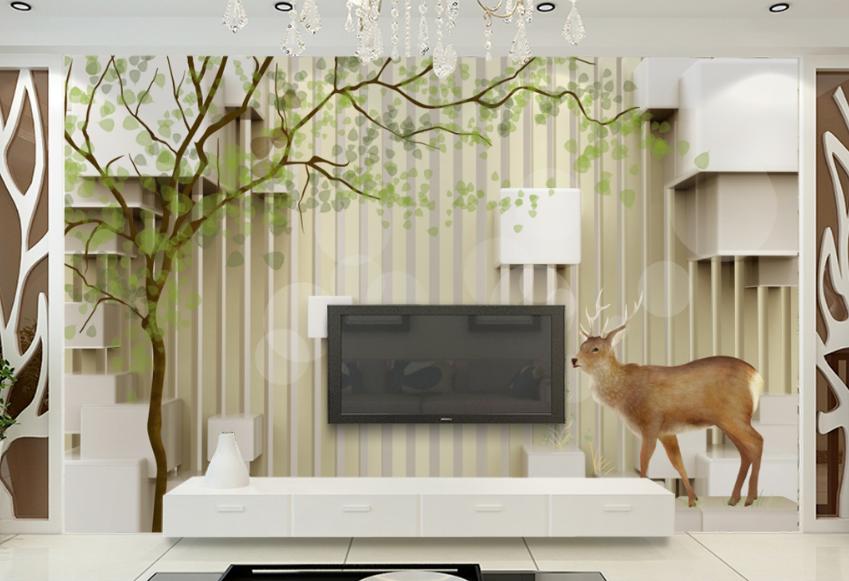 3D Tree Deer 466 Wallpaper Murals Wall Print Wallpaper Mural AJ WALL AU Lemon