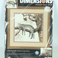 Dimensions Too Pooped Cat Counted Cross Stitch Kit Charles Wysocki 11x11