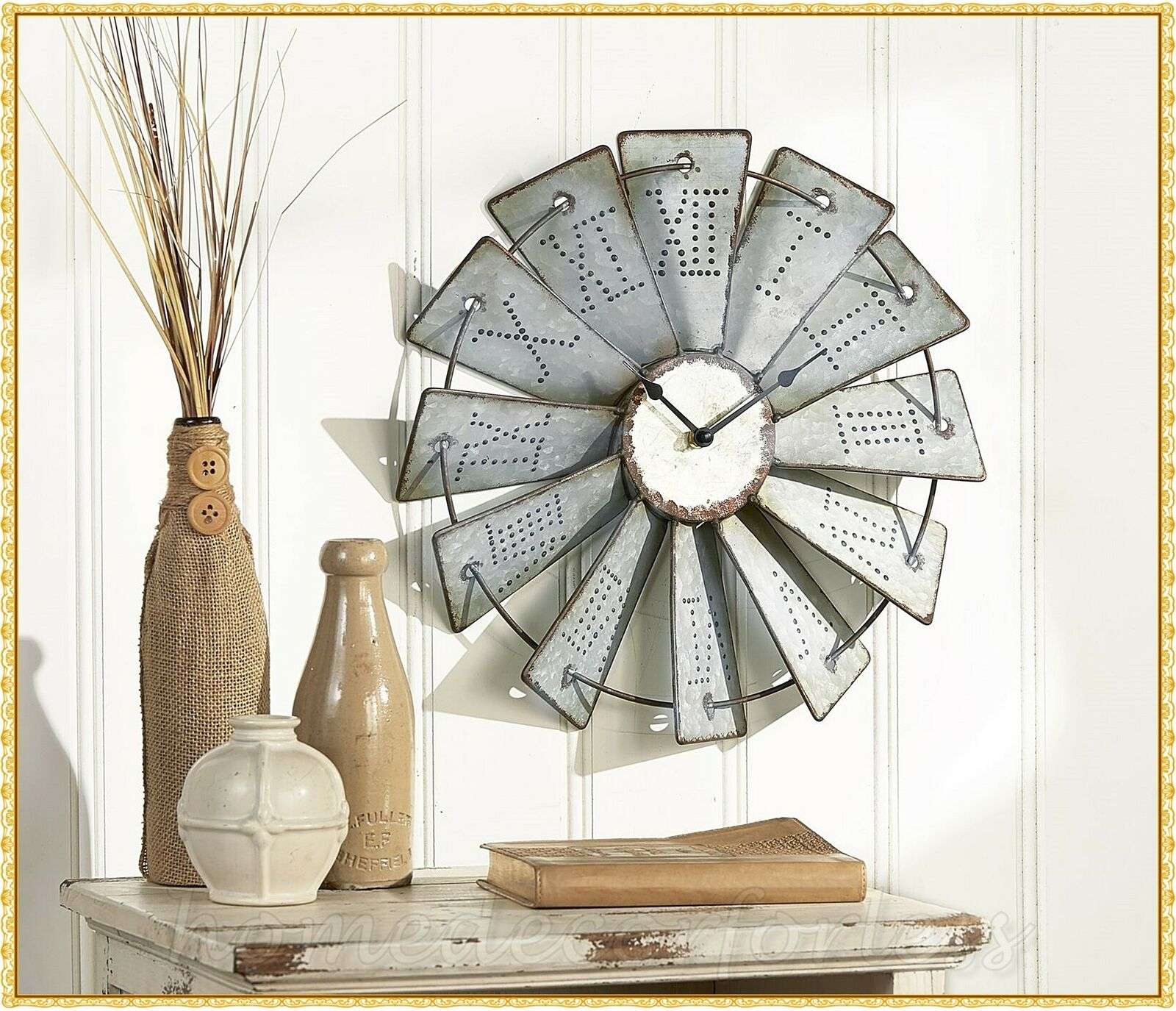 Rustic Metal Embossed Windmill Wall Clock Primitive Farmhouse Country Home Decor For Sale Online
