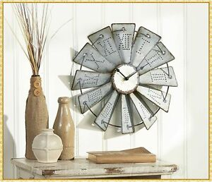 Rustic Metal Embossed WINDMILL WALL CLOCK Primitive Farmhouse Country Home Decor