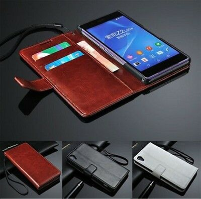 Luxury Leather Wallet Card Holder Flip Cover Stand Case For Sony Xperia Z3 Z4 E3