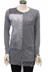 Dettagli su Camicia donna jeans stonewashed grigia maglia maniche lunghe colletto nuova M098