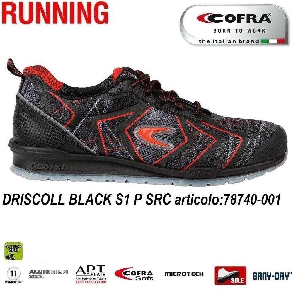 Scarpe Antinfortunistiche COFRA linea RUNNING modello DRISCOLL BLACK S1 P SRC scarpe lavoro tessuto altamente traspirante e MICROTECH , protezione