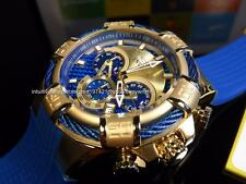New Invicta Men's Bolt Gold SS Multilayer Carbon Fiber Chrono Blue strap Watch