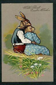 Dressed-Rabbits-in-Love-Sitting-on-Park-Bench-Easter-Postcard-unused-1907-k692