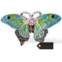 Hand Painted Butterfly In Flight Ornament W/ 24k Gold & Crystals By Matashi on sale