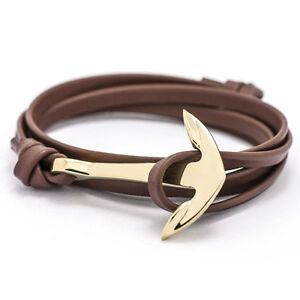 Image Is Loading Uni Gold Alloy Multilayer Leather Friendship Anchor Bracelet