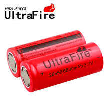 2xUltraFire 3.7Volt 6800mAh Rechargeable 26650 Li-ion Battery For Led Flashlight