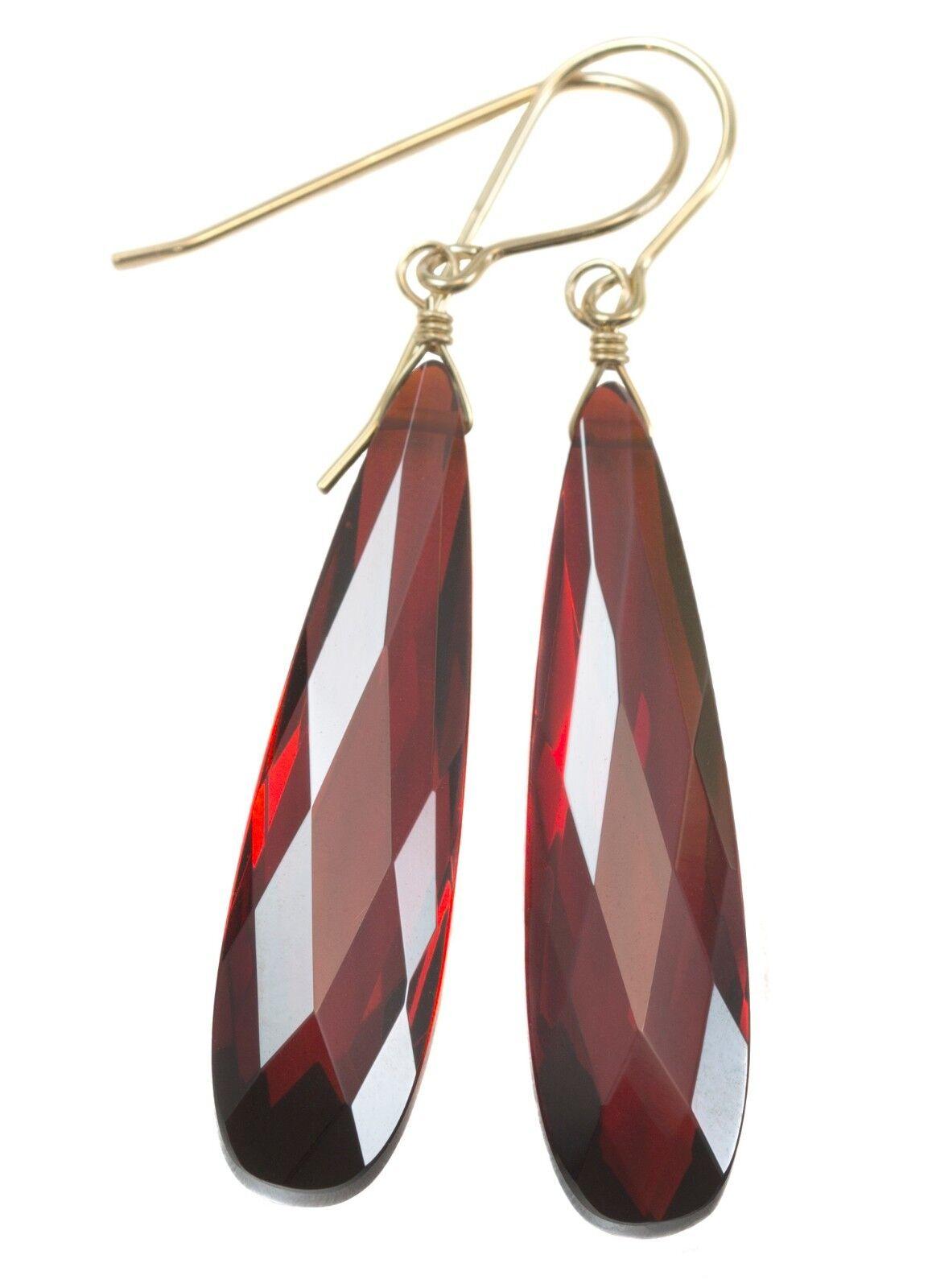 14k gold Cubic Zirconia Earrings Red Sim Garnet CZ Long Large 2   Drops Sterling