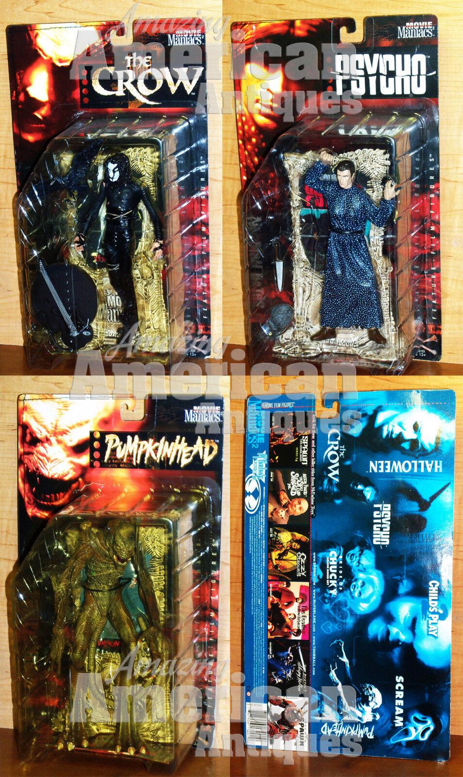 Movie Maniacs Todd McFarlane Toys The Crow Psycho Norman Bates Pumkinhead LOT
