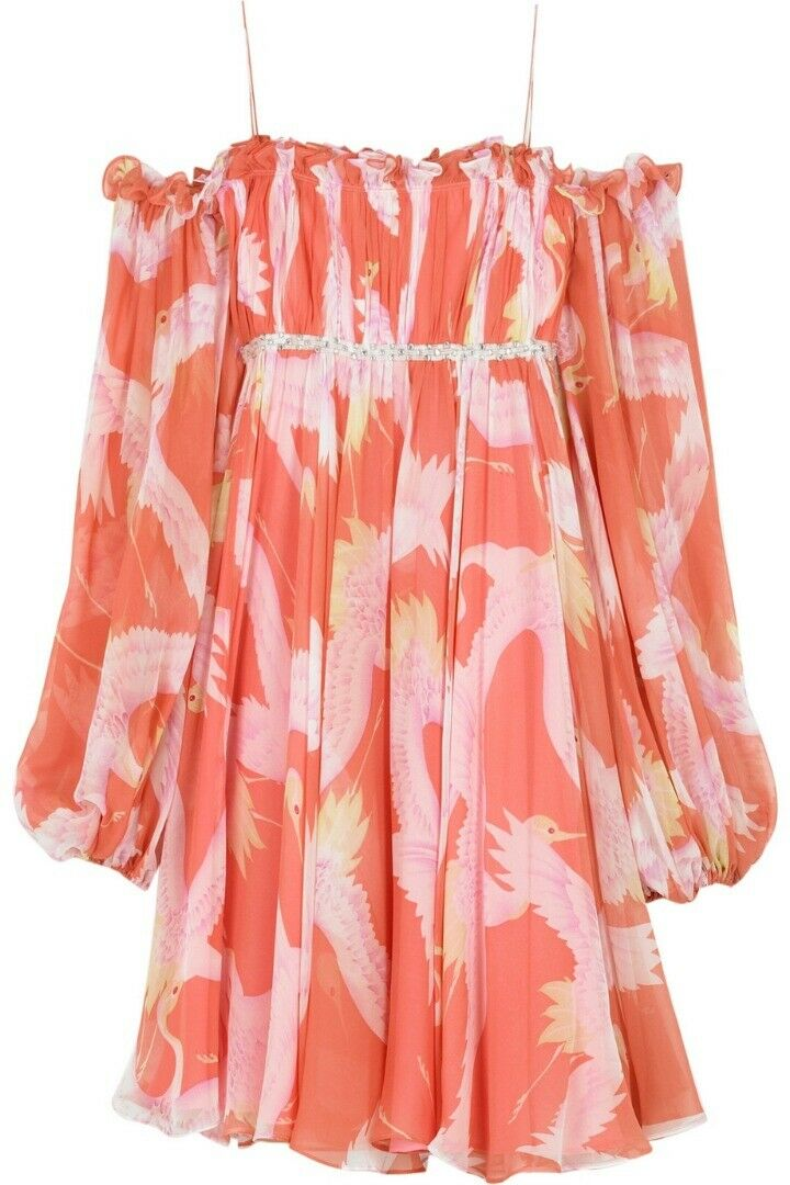 Marchesa Notte ROSE PEACH froncée Empire Robe Swing 6 Boho Oiseau Off épaule