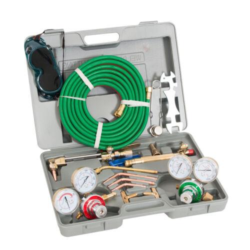 Oxygen Acetylene Welding Cutting Torch Kit Harris Type W// Goggles Tips Burner HD
