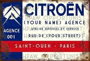 Vintage-Retro-Personalised-Citroen-Dealer-Medium-Size-Metal-Tin-Sign-French