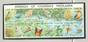 Uganda-857-Wetlands-Insects-Birds-Frogs-Reptiles-1v-M-S-of-16-Imperf-Proof
