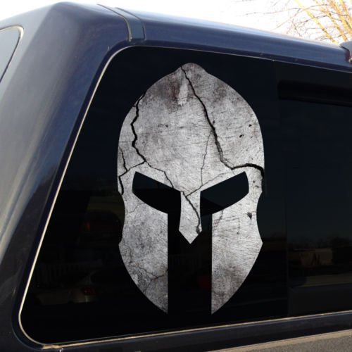5 Sizes Spartan Helmet Cracked Rock Stone Military Decal Sticker Graphic