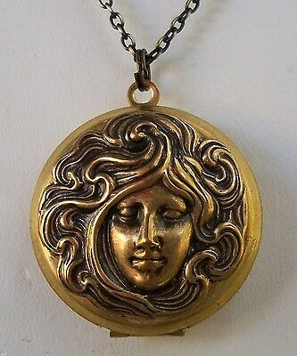 Art Nouveau Lady Locket-Sterling and Brass