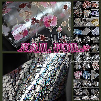 1 Roll of 56 Design Many Flowers Nail Art Polish Glue Transfer Foil Tips Sticker