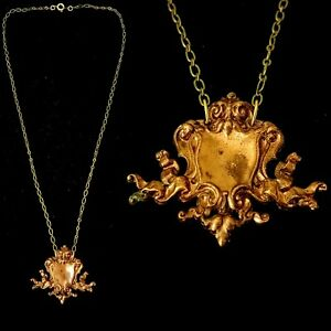Vintage-1920s-French-Made-Scroll-Medallion-Necklace-Fabulous-Die-Cast