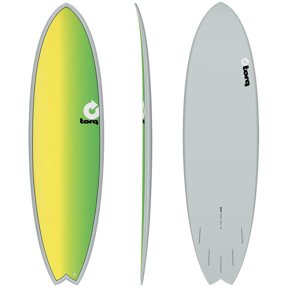 Torq 6'10 Mod Fish Surfboard (Grey Yellow Green)