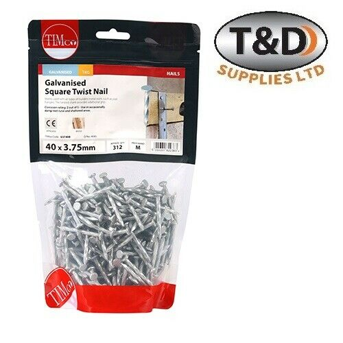 GALVANISED SQUARE TWIST NAILS 30mm /& 40mm JOIST /& RESTRAINT STRAP FASTENER