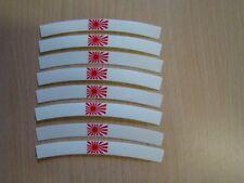 Felgenrandaufkleber Japan Kriegsflagge Set 8 teilig Aufkleber Label Logo Rot