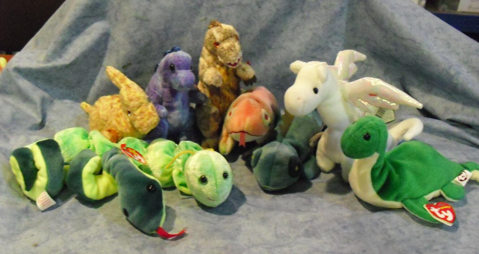 W-f-l Ty Beanie Babies Dinosaurs Lizards Snakes Iguana Selection