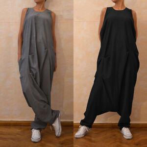 Mode-Femme-Vintage-Sans-Manche-Jumpsuit-Col-Rond-Casual-en-vrac-Longue-Pantalon