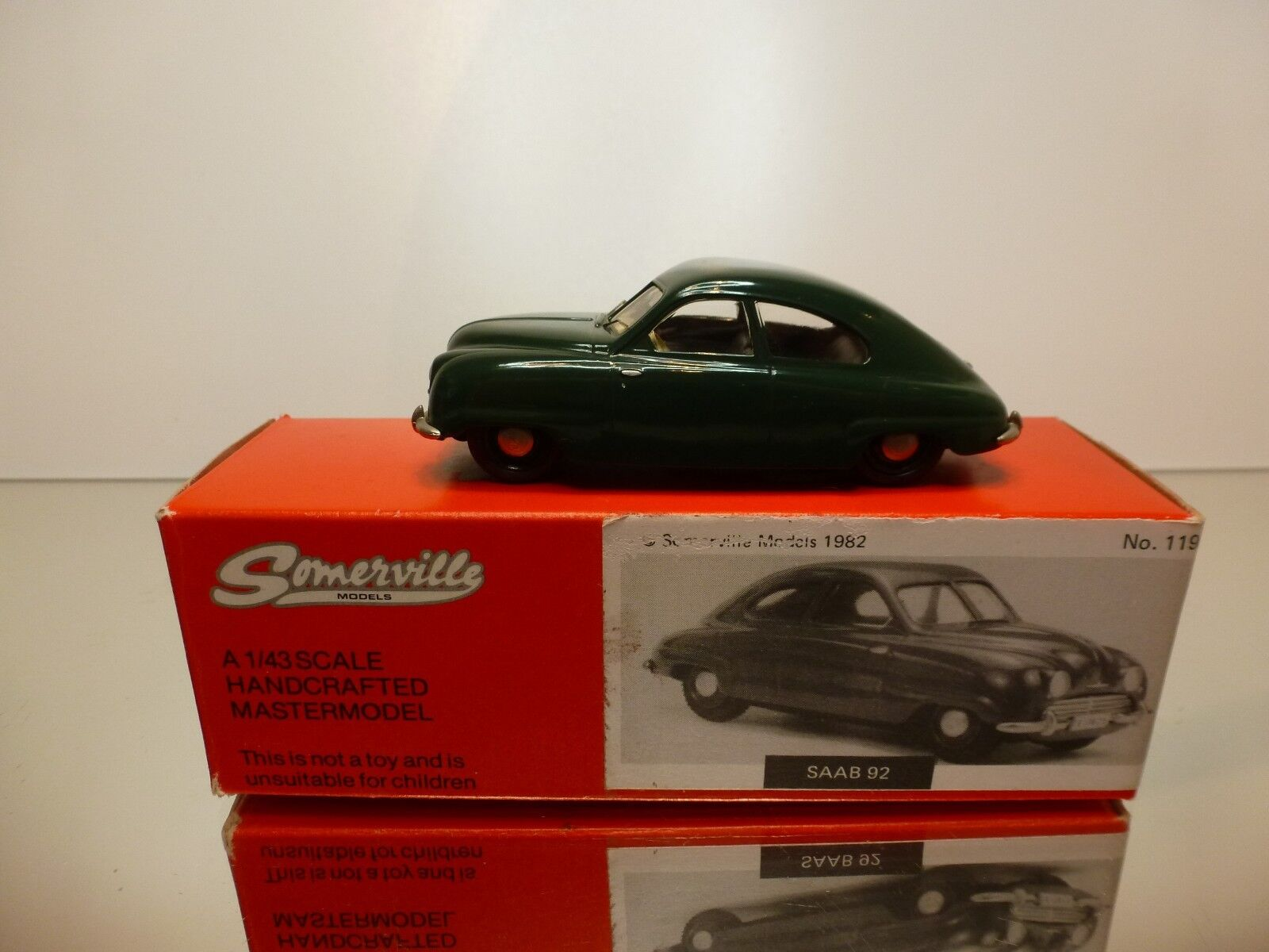 SOMMERVILLE 119 HANDCRAFTED SAAB 92 1950 - GREEN 1 43 RARE - VERY GOOD IN BOX